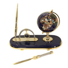 Executive Handcrafted  Gemstone Globe Desk Pen Set - Gift Set - Lapis Blue