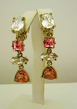 Oscar de la Renta Multi Crystal Drop Clip-On Earrings