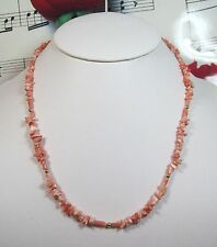 Genuine Natural Pink Coral chips Necklace With 14K GF Clasp. Graduated. MCR021