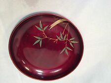 Maruni Occupied Japan Lackerware Plate Enamel Metal Base Red w/Green Gold Bamboo