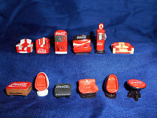 COCA COLA Logo Set 12 Mini CHAIRS Tables GAS PUMP Figures French Porcelain FEVES