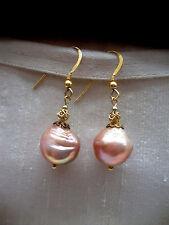 Boucles D'oreille Pendantes+rosé-or Actuellement+Eau douce Perles de culture +