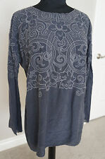 NEW Johnny Was Rayon Embroidered Bohemian Blouse Top Tunic Shirt Charcoal S