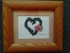 Framed heart-shaped wreath print