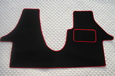 TO FIT A VW TRANSPORTER T5 2005 LWB VAN, BLACK/RED PIPING CUSTOM FIT 1 PIECE MAT