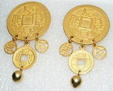 Vintage Carol DAUPLAISE Huge Asian COIN dangling clip on EARRINGS costume Runway