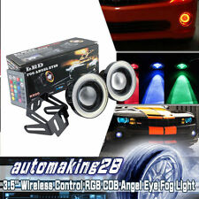 2x 3.5'' SUV Angel Eye COB RGB Halo Ring LED Fog Driving Light Wireless Control