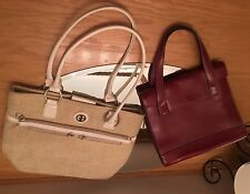 Lot Of 2 Purse Hand Shoulder Bag: Red Enzari Paris France & Giani Bernini Ivory