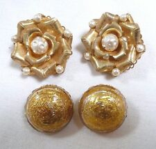 Lot of 2 Pair SIGNED Vintage MIRIAM HASKELL Earrings Faux Baroque Pearls