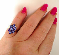 'CERTIFIED' FAB COLOUR! OVER 3 CARATS! AA TANZANITE PREMIUM QUALITY SILVER RING
