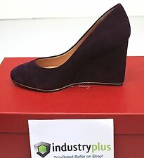 Salvatore Ferragamo FIAMMA Z High Wedge Heel Suede Plum Purple shoes 10 40.5 NIB