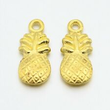 Pineapple Charms Gold Charms Double Sided Fruit Charms Lucky Pineapple 10 pieces