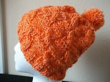 Hand knitted  alpaca/wool blend beanie/hat with pom pom, orange (small/youth)