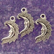 10 pcs Antique Silver Finish Metal Moon Charms 15mm x 27mm #0468