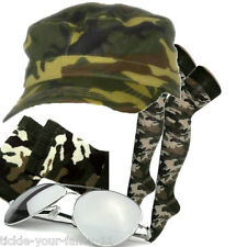 Womens Army Soldier Kit Cap Socks Wristbands Glasses Fancy Dress Camo Camoflauge