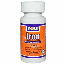 Now Foods, Iron, 18 mg, 120 Veggie Caps, Ferrochel Iron Bisglycinate