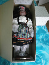 "Rare Alberon Porcelain Doll  'MIA' (Ethic dress) 18"" In Original Box with stand"