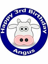 """7.5"""" PERSONALISED CARTOON COW FACE BIRTHDAY CAKE TOPPERS ON EDIBLE RICE PAPER"""