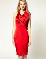 BNWT $445 KAREN MILLEN England Red Bow Panel Dress UK12 8-10