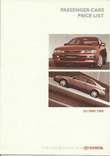 TOYOTA COROLLA CAMRY PASEO CELICA MR2 RAV4 HILUX LANDCRUISER May 1996 UK PRICES