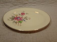 Vintage Semi Vitreous Pink /Yellow Floral Platter by Edwin M. Knowles China Co.