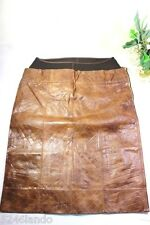 FENDI Brown Leather Pencil Cut Sexy Skirt 4 5 6
