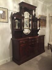 Antique Edwardian mirrored walnut sideboard 2.43m tall 1.82m wide.