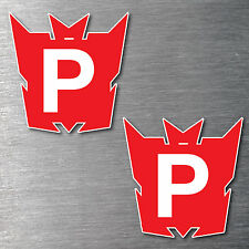 Red P Plate Transformer x 2 stickers STREET LEGAL 7 year water & fade proof