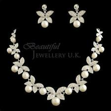 Elegant Off-White Ivory Pearl Silver Bridal Jewellery Set Wedding Necklace PS16