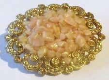 broche bijou rétro ovale couleur or déco pierre naturelle rose *4875