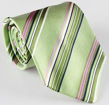 """NWT VERSACE silk TIE Regimental striped pink green blue made in Italy 3.54"""""""