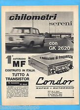 QUATTROR963-PUBBLICITA'/ADVERTISING-1963- CONDOR - AUTORADIO GK 2620