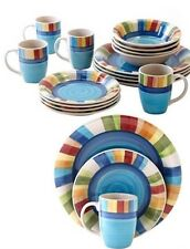 Dinnerware Stripe Dining Set Plates Dishes Bowls Cups 8 Mugs 32 Place Room Piece