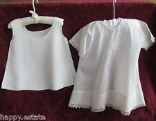 VINTAGE BABY DRESS & SLIP, 1920s, for 3-6 MO, LARGE BABY DOLL TATTED LACE 2-PC