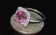 Solid 10K Gold Pink Sapphire White Topaz Ring 3.06 Grams 4.40 cts Size 5.5