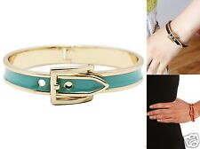 BAUBLEBAR Urban Trend Mint Green Enamel Fancy Belt Buckle Hinged Bangle Bracelet