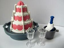 Playmobil Dollshouse/Birthday/wedding extras: Champagne, ice bucket & cake New