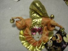 Venetian Mask Masquerade Carnival Wall plaque peach and gold