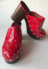 Marc by Marc Jacobs Women's Dylan Nailhead Clog Shoes Red Patent Leather - 7/37