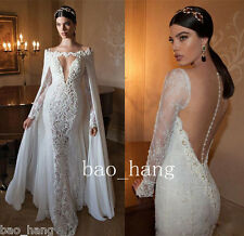 Sweetheart V Neck Mermaid Wedding Dress With Long Cape Sweep Train Bridal Gowns