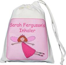 Personalised Flying Fairy Asthma Inhaler & Small Spacer 14x20cm drawstring EMPTY