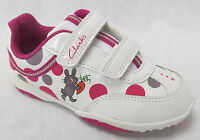 BNIB Clarks Girls Giggle Run White Leather Lights First Trainers E/F/G/H