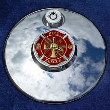 Harley Touring Fuel Door Cover Coin Mount with Firefighter Maltese Cross Coin