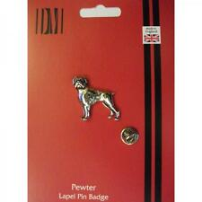 Silver Boxer Pet Dog Pewter Lapel Pin Badge Handmade In England Dogs Boxers New