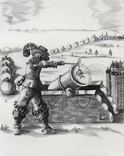 Militaria-Artillerie : COMME IL FAUT METTRE LE FEU AUX MORTIERS, gravure