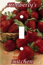 PERSONALIZED FRESH STRAWBERRY BASKET LIGHT SWITCH PLATE COVER