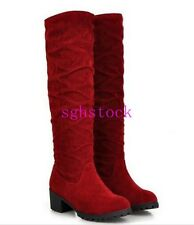2016 Women's Faux Suede Stretch Pull On Slouchy Low Heel Knee High Boot Shoes US