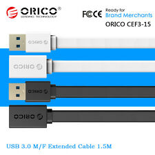 ORICO 1.5M M/F Flat USB 3.0 SuperSpeed Extension Extend Cable Extender Cord Lead