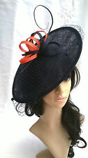 Navy & Orange Rete & Fascinator con Piume. Fascia per capelli. a forma di disco MATRIMONIO... CORSE