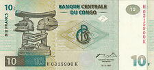 FB09 BILLETE CONGO 10 FRANCOS 1997 SC